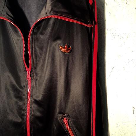 ROCKカラーコンビネーション『黒×赤』70,s西独製 希少曲がりジッパーJersey ヴィンテージ美品
