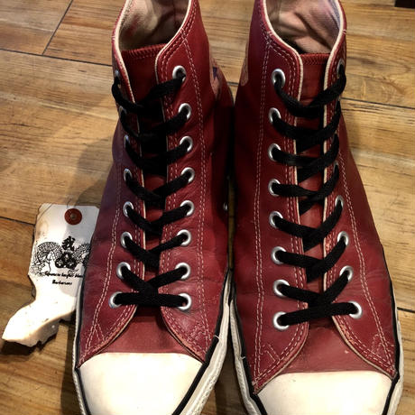 90,s vintage U.S.A. ALL STAR BURGUNDY LEATHER Hi US11