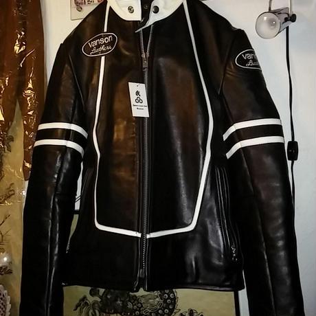 vanson RJVシングルライダースジャケット東京渋谷バックドロップ別注『黒×黒』極上未使用品36
