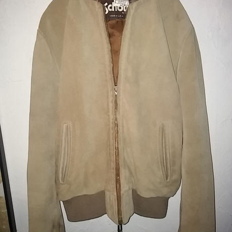 90,s Schott U.S.A. SUEDE LEATHER SPORTS JACKET CAMEL美品