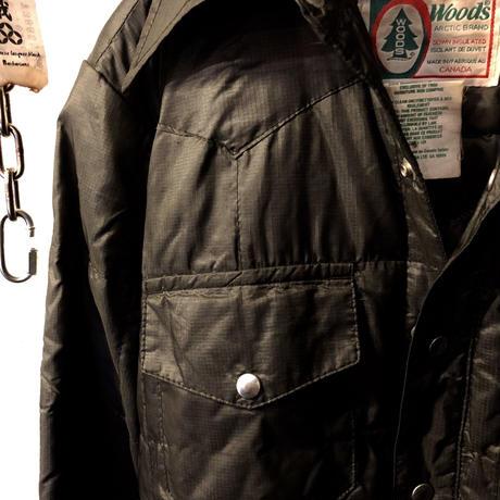 オールドモデル80,s CANADA製Woods DOWN-Shirtレッドデータ美品