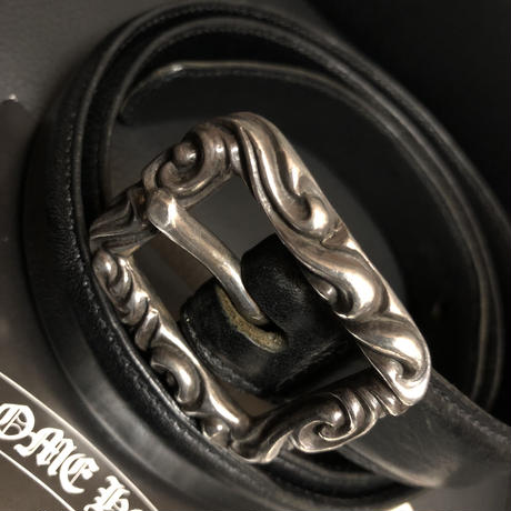 《超目玉》Chrome Hearts RECTANGLE SCROLL  LEATHER BELT 黄金サイズ32希少細幅モデル美品スペシャルプライス
