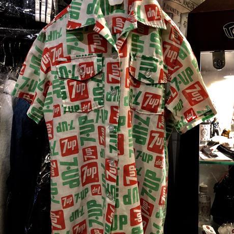 70,s U.S.A.ヴィンテージハンドメイド マテリアル7upロゴ Shirt美品