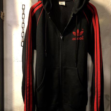 U.S.A.製エイティーズ adidas ROCKカラーコンビネーション『黒×赤』レアフーデットTRUCK JERSEYヴィンテージ極上美品目玉アイテム