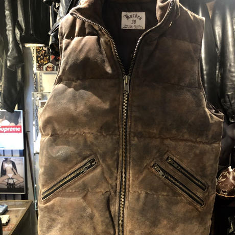 Burden ヴィンテージ加工Leather Down Vest