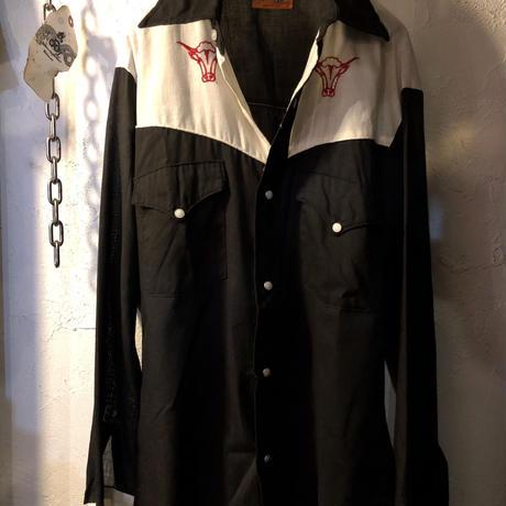 "80,s初期 MADE IN U.S.A. 希少 ""黒×白"" 2トーンRock'n Roll Western Shirtヴィンテージ美品スペシャルプライス"