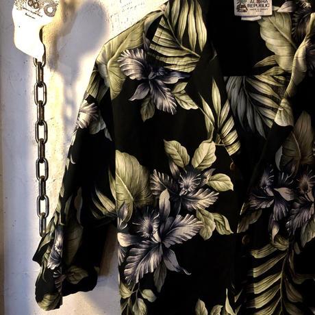 〈目玉〉U.S.A.製80,s 希少ブラックベースRock'n Roll Hawaiian Shirt ヴィンテージ極上美品スペシャルプライス