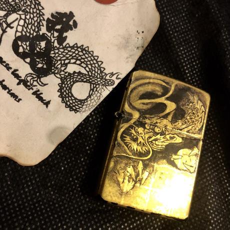 純金箔張り 墨絵龍 オールドリミテッドモデルZIPPO ユーズド木箱付