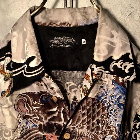 90,s 伝説三代目彫よし作 シルク和柄シャツ貴重ヴィンテージ美品
