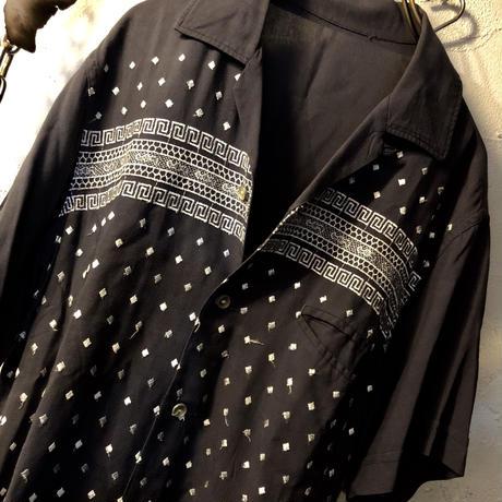 リアルロックンロール60,s U.S.A. BOX型マテリアルダイスRockabilly Shirt ヴィンテージ美品