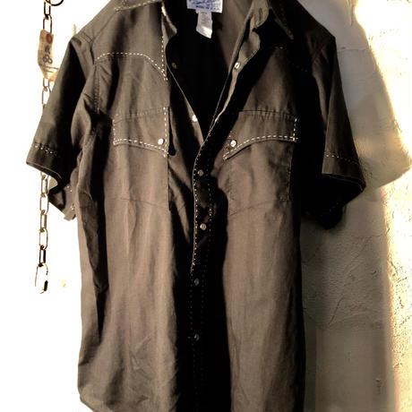 80,s USA製 Rockmount オールドモデルロカビリーテイスト オールブラックウエスタンシャツ