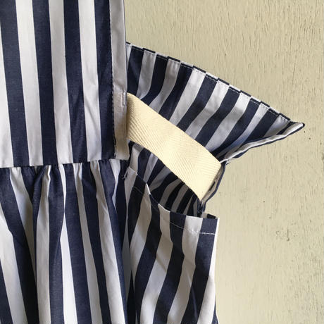 Yarmo  Bib and Brace Dress Candy Stripe(Navy)
