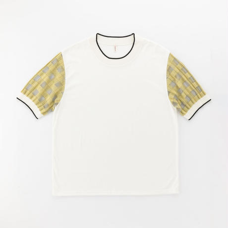 transparent check sleeve T-shirt