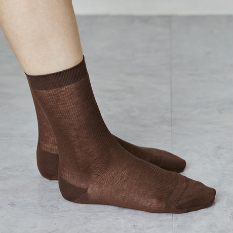 silk cotton basic ribbed socks
