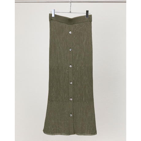 front button ribbed skirt