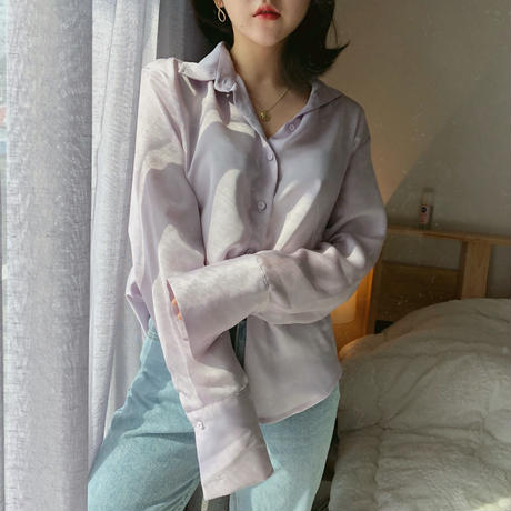 【春の新作】Silky Blouse 【Purple 】