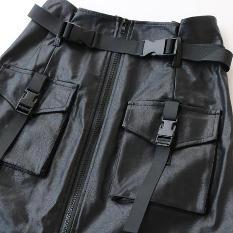 BELT LEATHER SKIRT
