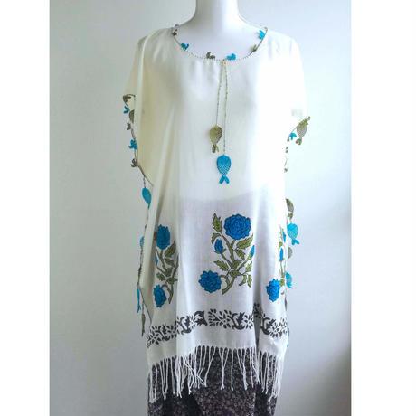 トルコ 木版バスク&手編みオヤのチュニック 青いバラと魚
