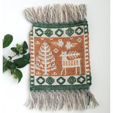 ヤノフ村の織物 ミニタペストリー 鳥と鹿と木(19×21cm) #2368