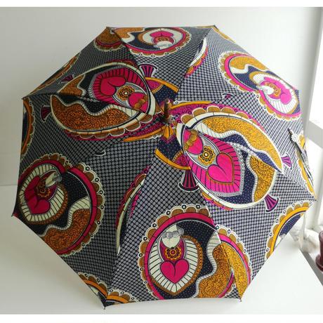 アフリカンプリント 晴雨兼用傘 ピンクのハート