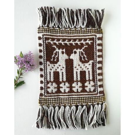 ヤノフ村の織物 ミニタペストリー 向かいあう鹿(20×21cm) #2418