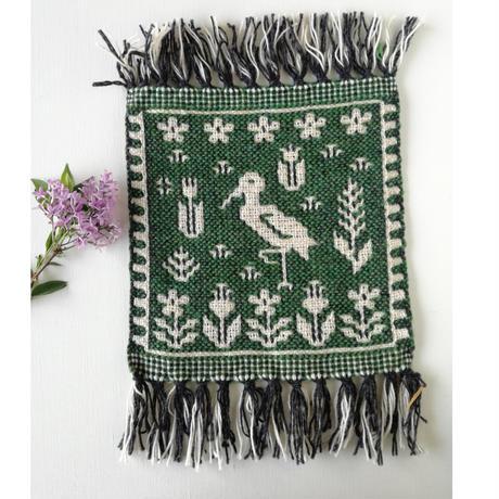 ヤノフ村の織物 ミニタペストリー コウノトリ(20×21cm) #2422