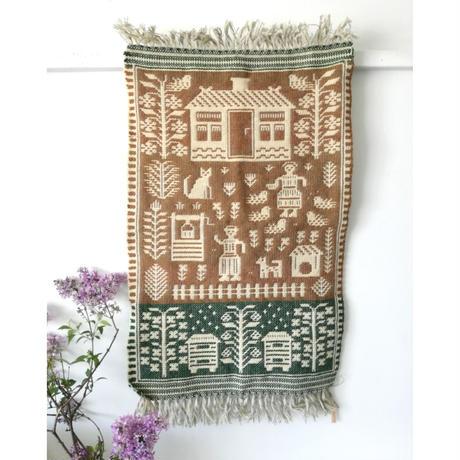 ヤノフ村の織物 タペストリー 村の暮らし(51×78cm) #2363