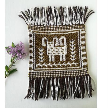 ヤノフ村の織物 ミニタペストリー 羊のほほえみ(18×18cm)#2337