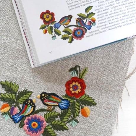 ポーランド 伝統刺繍のトートバッグ オポチノ地方  鳥