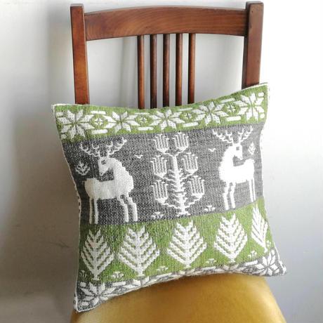 ヤノフ村の織物 クッションカバー 森の中の鹿(40×36cm)#2431