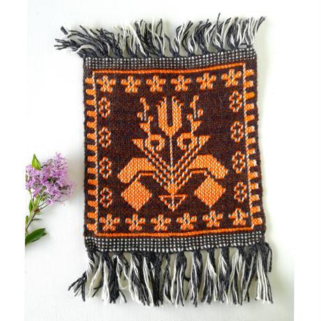 ヤノフ村の織物 ミニタペストリー 伝統的な花(21×24cm) #2358