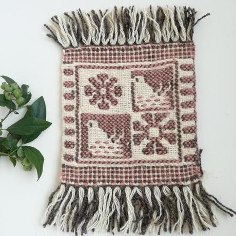 ヤノフ村の織物 コースター 鳥と花(16×17cm)