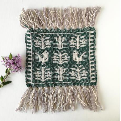ヤノフ村の織物 ミニタペストリー 森の中の鳥(23×22cm) #2112