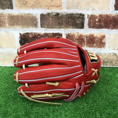【限定】ウイルソン 硬式グローブ WBW100752(DL型) 高校野球対応 Eオレンジ 型付け無料