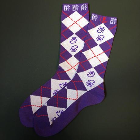 酔argayle socks(PURPLE×GRAY)
