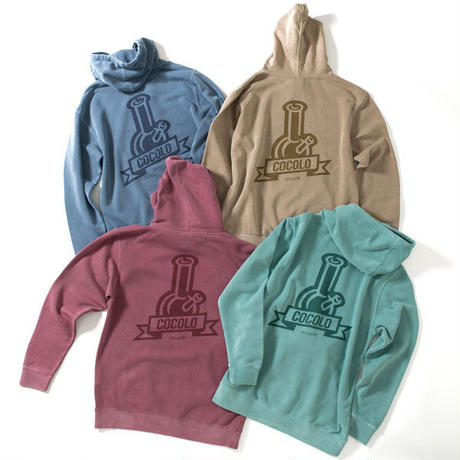 RIBBON LOGO PIGMENT DYED HOODIE (MINT)