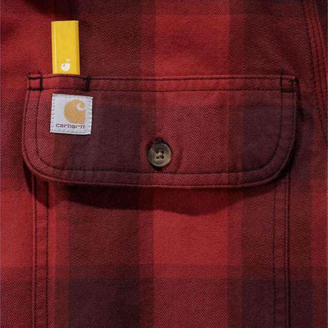 CARHARTT / Rugged Flex® Hamilton Flannel Plaid Shirt  -Red-