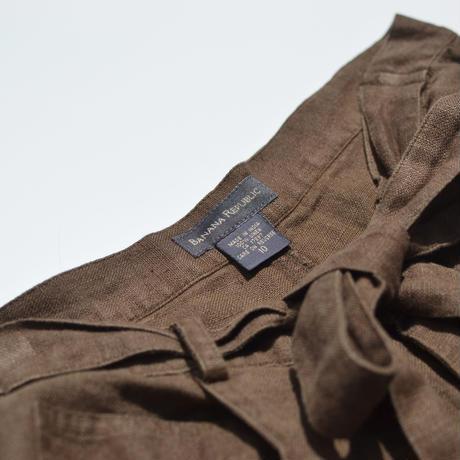 Belted Linen Wide Pants