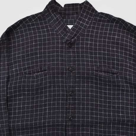 """FLAX"" No Collar Linen Check Shirts"