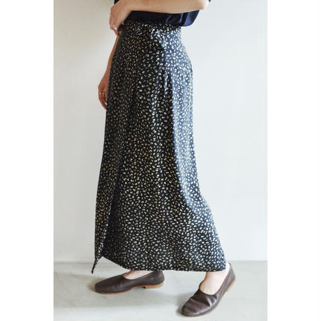 Flower Pattern Silk Wrap Skirt