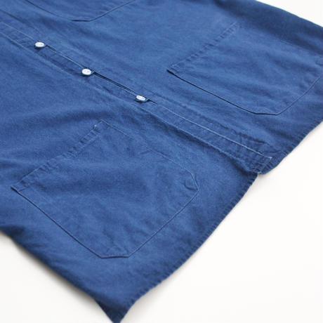 S/S Indigo Cotton No Collar Shirts Jacket