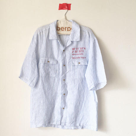 リネンスラブストライプ/ナンバリングオープンカラーシャツ
