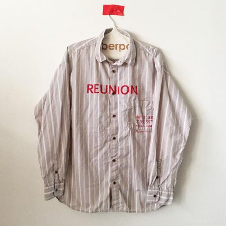 コットンストライプシャツ/BEIGE×WHITE