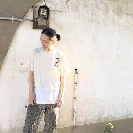 バイカラー WIDE Tee/NATURAL×WHITE