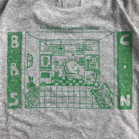 BARBER SAKOTA × CONTE-NU × Hiraparr Wilson /  BBS-CN LS T-shirt - gray