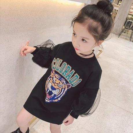 ★ タイガープリントチュール袖OP★