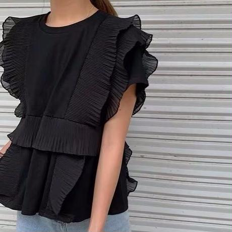 ★フリルスモッグTシャツ★ladies 2カラー