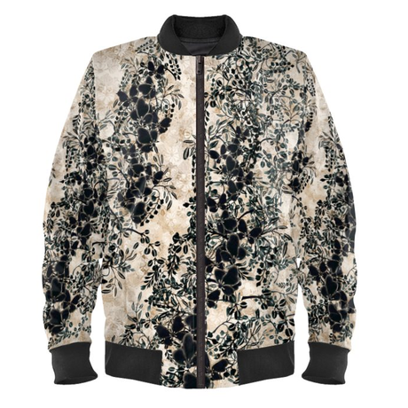 white butterfly Ladies Bomber Jacket