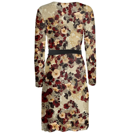 Flower and Butterfly Hibiscus Wrap dress