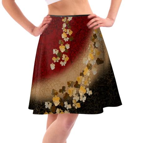 蝶家紋デザイン フレアスカート